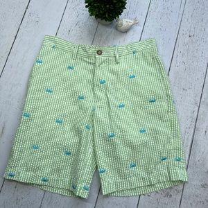 Mens Seersucker Lime Green Shorts with Crabs